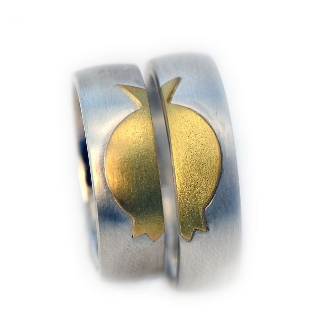 Damenring 925/-Silber, 750/-GG. Herrenring: 925/-Silber, 750/-GG