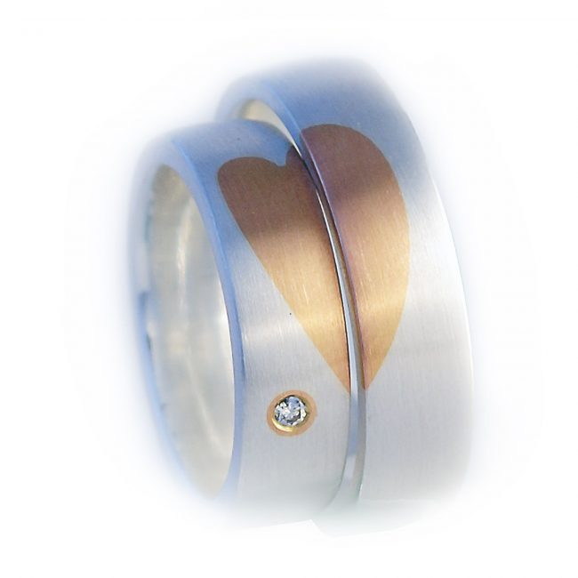 Damenring 925/-Silber, 750/-GG, Brill. 0,01ct. Herrenring: 925/-Silber, 750/-GG