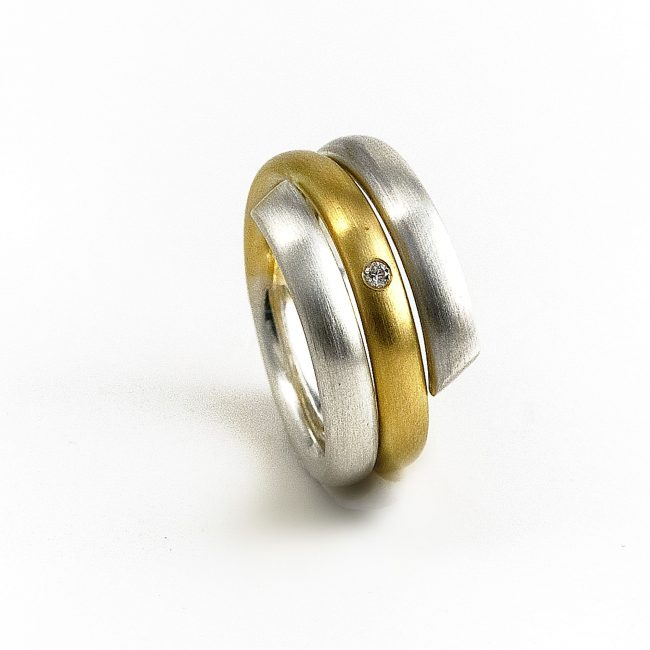 925/-Silber, 750/-GG, Brill. 0,02ct.