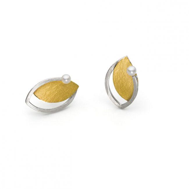 O791 - Silberohrring mit Gold und Perle  (Ag925, Au900)