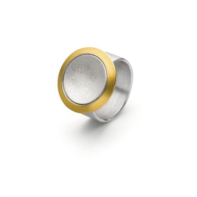 R1073 - Silberring mit Gold  (Ag925, Au900)